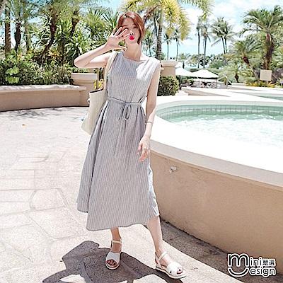 無袖繫帶條紋長連身裙(附腰帶) 灰色-mini嚴選