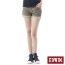 EDWIN MISS 503反摺條紋棉麻短褲-女-咖啡