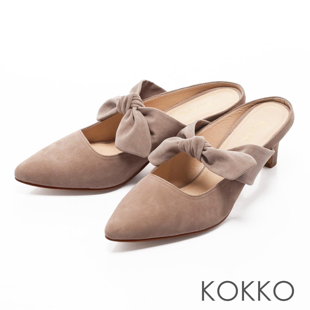 KOKKO -小步舞曲浪漫蝴蝶結尖頭穆勒鞋-輕柔灰