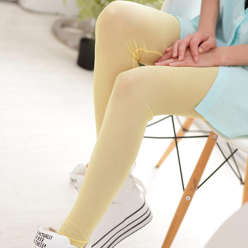Blossom Gal繽紛夏日透膚感彈性網紗九分內搭褲(香蕉黃)