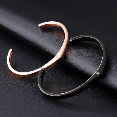 ACUBY-鋼製簡約單鑽情侶對飾手環