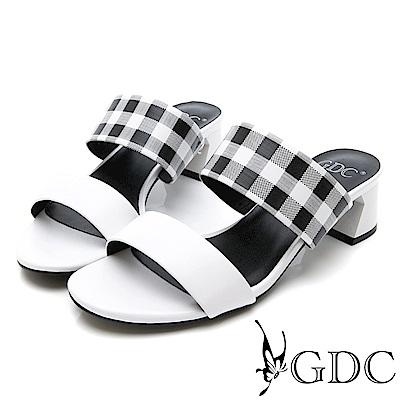 GDC-復古春夏格紋甜美一字低跟涼拖鞋-黑色