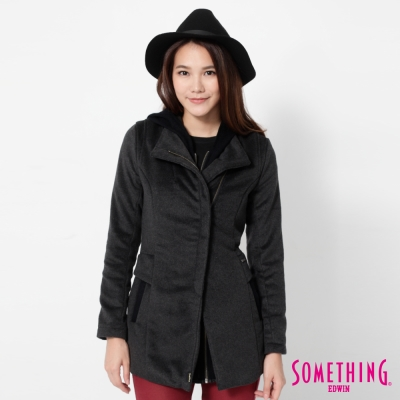 SOMETHING 可拆式假兩件毛呢外套-女-灰黑色