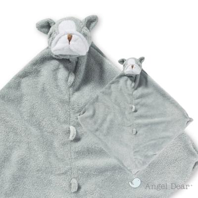 美國 Angel Dear 動物嬰兒安撫巾 (灰色鬥牛犬)