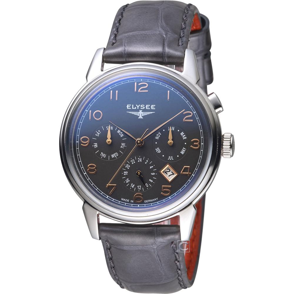 ELYSEE  經典藝術家時尚機械腕錶-灰/40mm