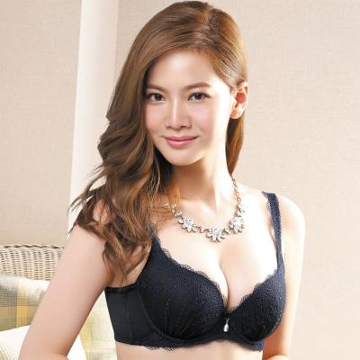 莎薇-絢麗粉水2UP系列B-D罩杯內衣-墨黑色