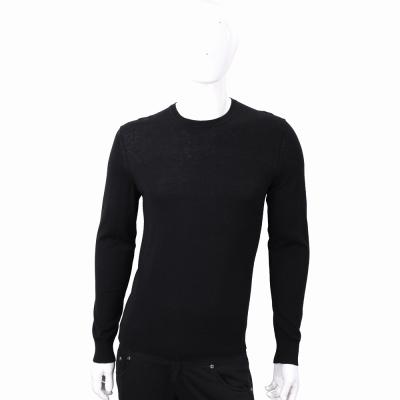BURBERRY 喀什米爾黑色格紋細節羊毛針織衫