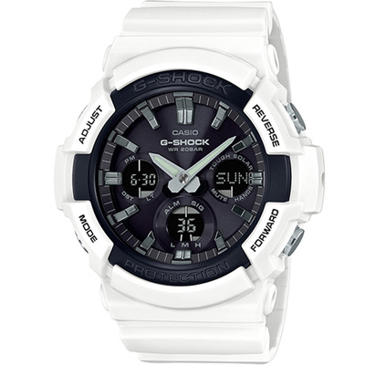 G-SHOCK強悍風範設計時尚運動錶(GAS-100B-7)-白X黑面52.5mm