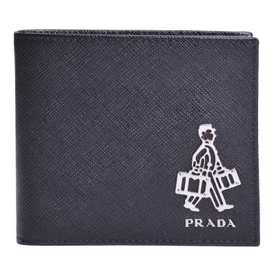 PRADA SAFFIANO 品牌人形金屬logo防刮牛皮對折八卡短夾(黑色)
