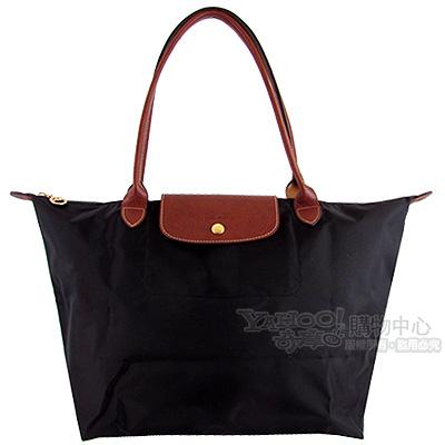 Longchamp黑色咖啡色皮飾邊長背帶折疊水餃包(大)