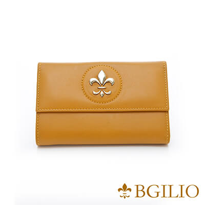 義大利BGilio-都會優雅高質感Nappa牛皮中夾-黃色-1475.306-13