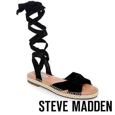 STEVE MADDEN-ELISE-麂皮綁帶草編平底涼鞋-絨黑