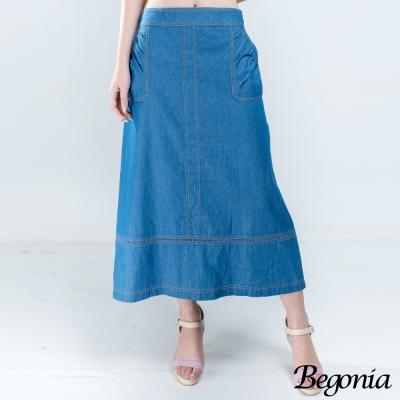 Begonia 縫線剪裁縷空擺口袋牛仔棉長裙(共二色)