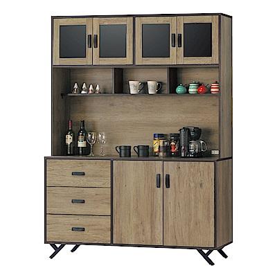 品家居 特斯拉5尺橡木紋餐櫃組合-150x40x203cm免組