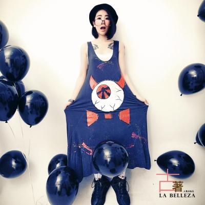 中大尺碼 U領惡魔牛角眼球潑墨長版棉洋裝-La Belleza
