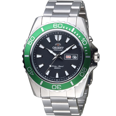 ORIENT 東方錶 WATER RESISTANT系列  200 m潛水機械錶-綠/ 44 mm