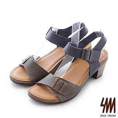 SM-台灣全真皮-雙色扣帶一字中高粗跟涼鞋-灰色