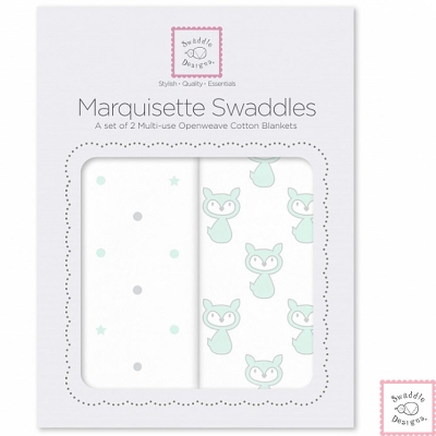 Swaddle Designs 多用途嬰兒包巾2入彌月禮盒組-狐狸點點