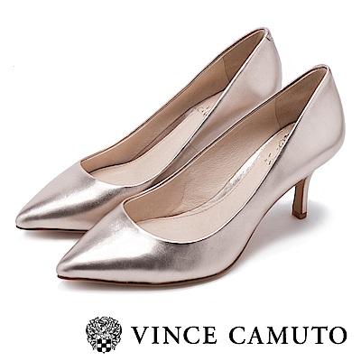 Vince Camuto 真皮質感尖頭中跟鞋-金色