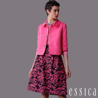 JESSICA-知性復古玫瑰印花短裙(粉紅)
