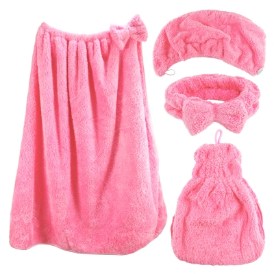 雪花絨四件組-浴帽+浴裙+裙襬式擦手巾+蝴蝶結束髮帶/潤粉