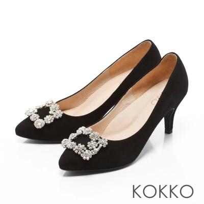 KOKKO-紅毯絢燦浪漫花鑽尖頭高跟鞋-麂皮黑