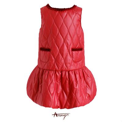Anny獨特鋪棉雙口袋荷葉領背心洋裝*5652紅
