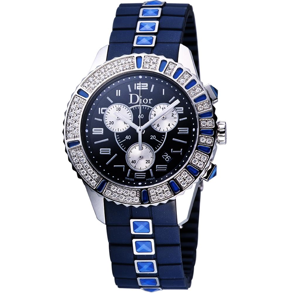 Dior CHRISTAL巨星風采水晶三眼計時腕錶-藍38mm