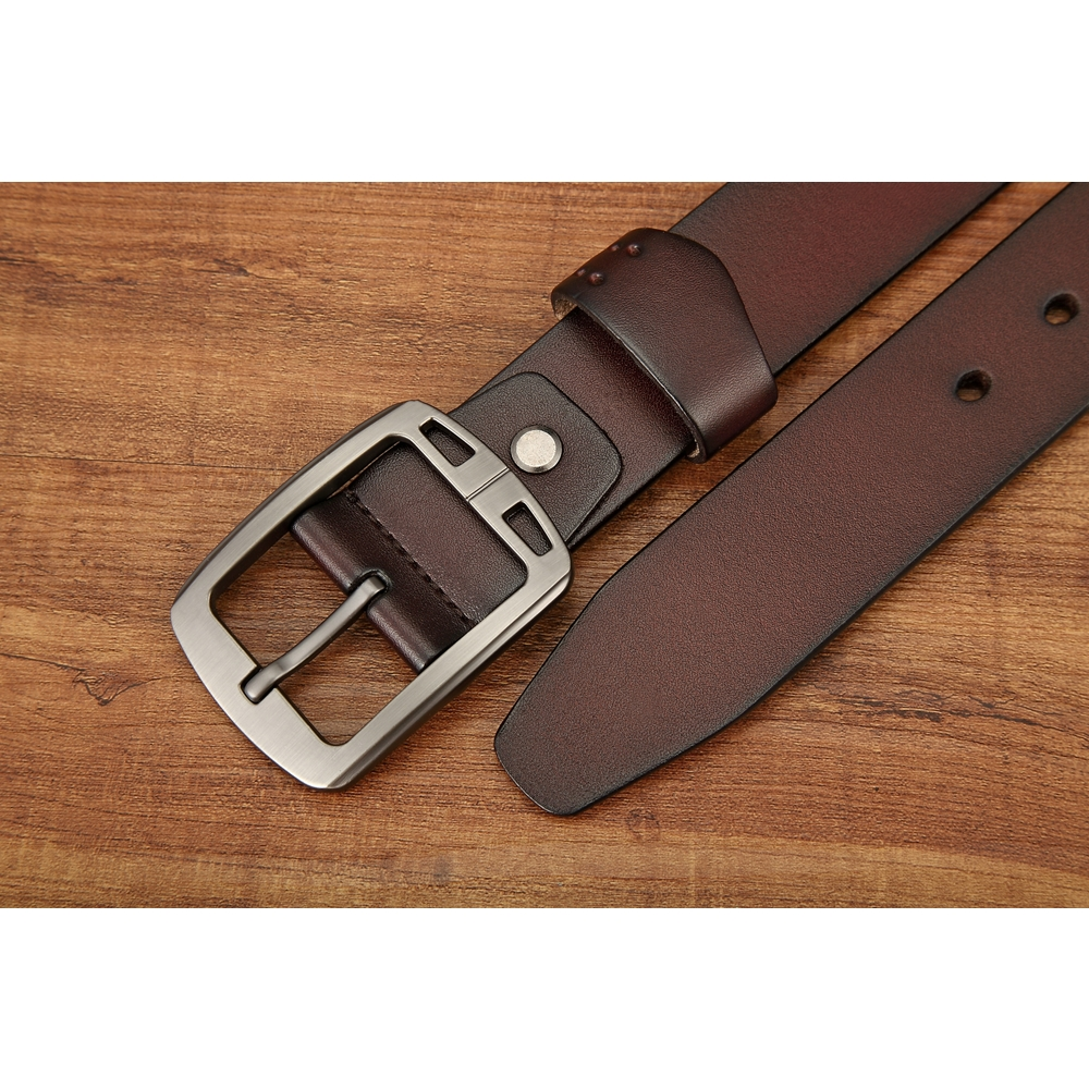 ZK2002BR復古款穿針式牛皮腰帶皮帶咖啡色(腰圍在22-42吋內適用)