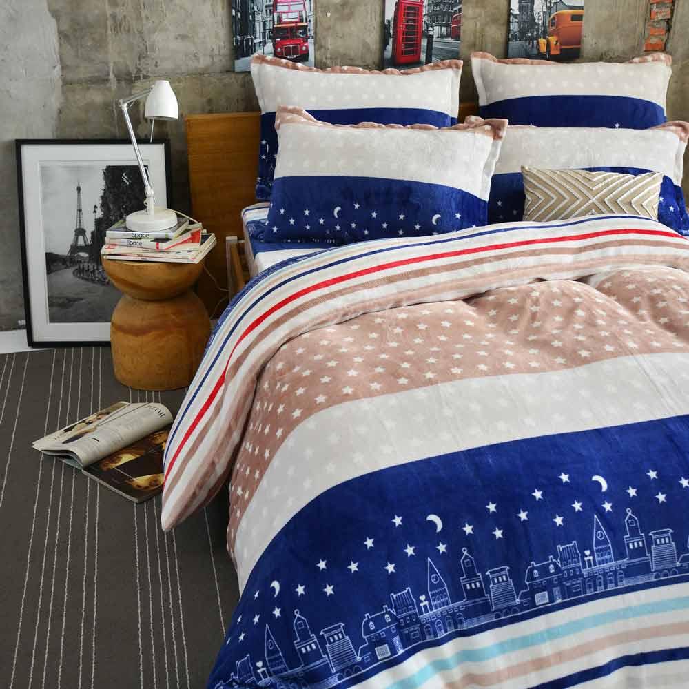 Ania Casa 超保暖法蘭絨-加大床包被套四件組-星星條紋
