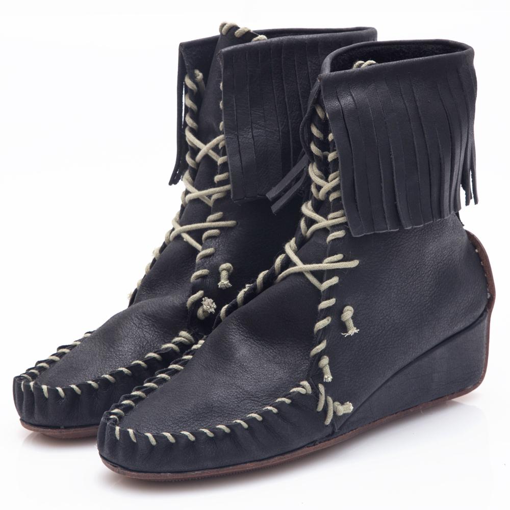 G.Ms. 牛皮波西米亞繞繩流蘇綁帶短楔型跟靴-黑色