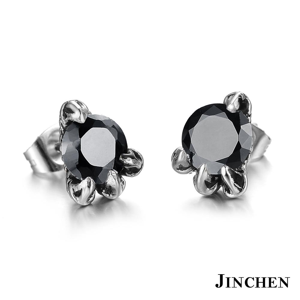 JINCHEN 白鋼龍爪耳環 黑鑽(單個價)