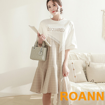 蕾絲拼接格紋不規則魚尾洋裝 (共二色)-ROANN