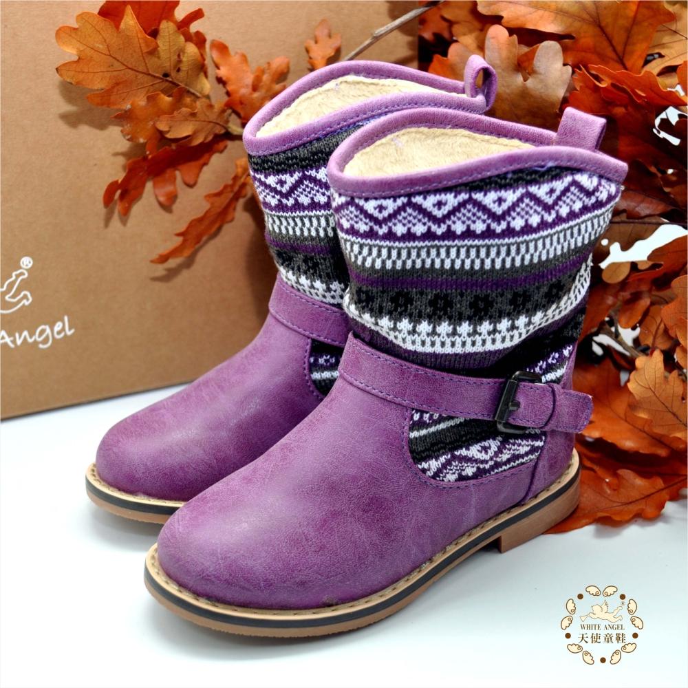 WhiteAngel天使童鞋-D342 菱線格紋環扣馬靴-紫