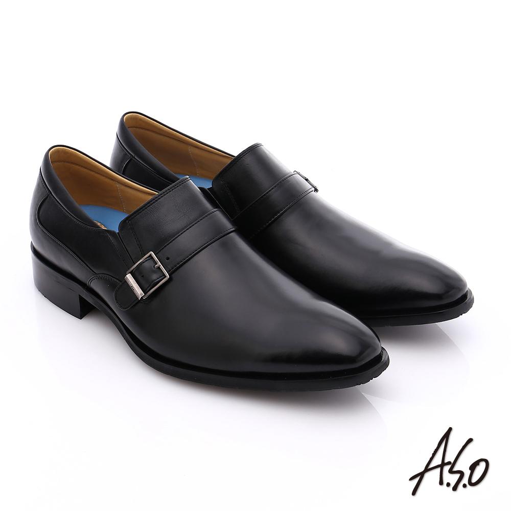 A.S.O 菁英通勤 小牛皮飾帶奈米紳士皮鞋 黑色
