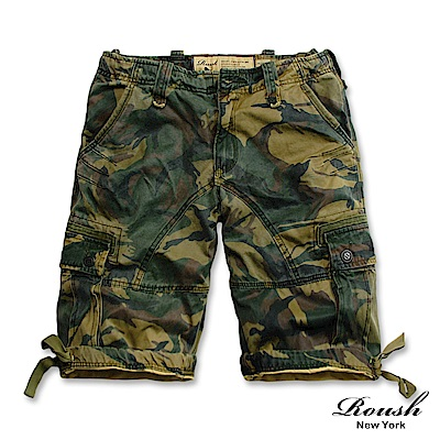 ROUSH (迷彩)雙口袋黑標設計高磅數水洗短褲6色