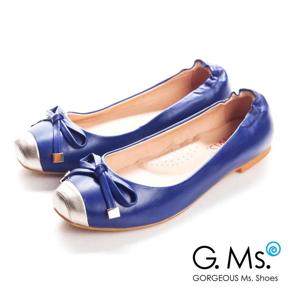G.Ms. 經典Dolly-金屬拼接方頭蝴蝶結全平底娃娃鞋-寶藍