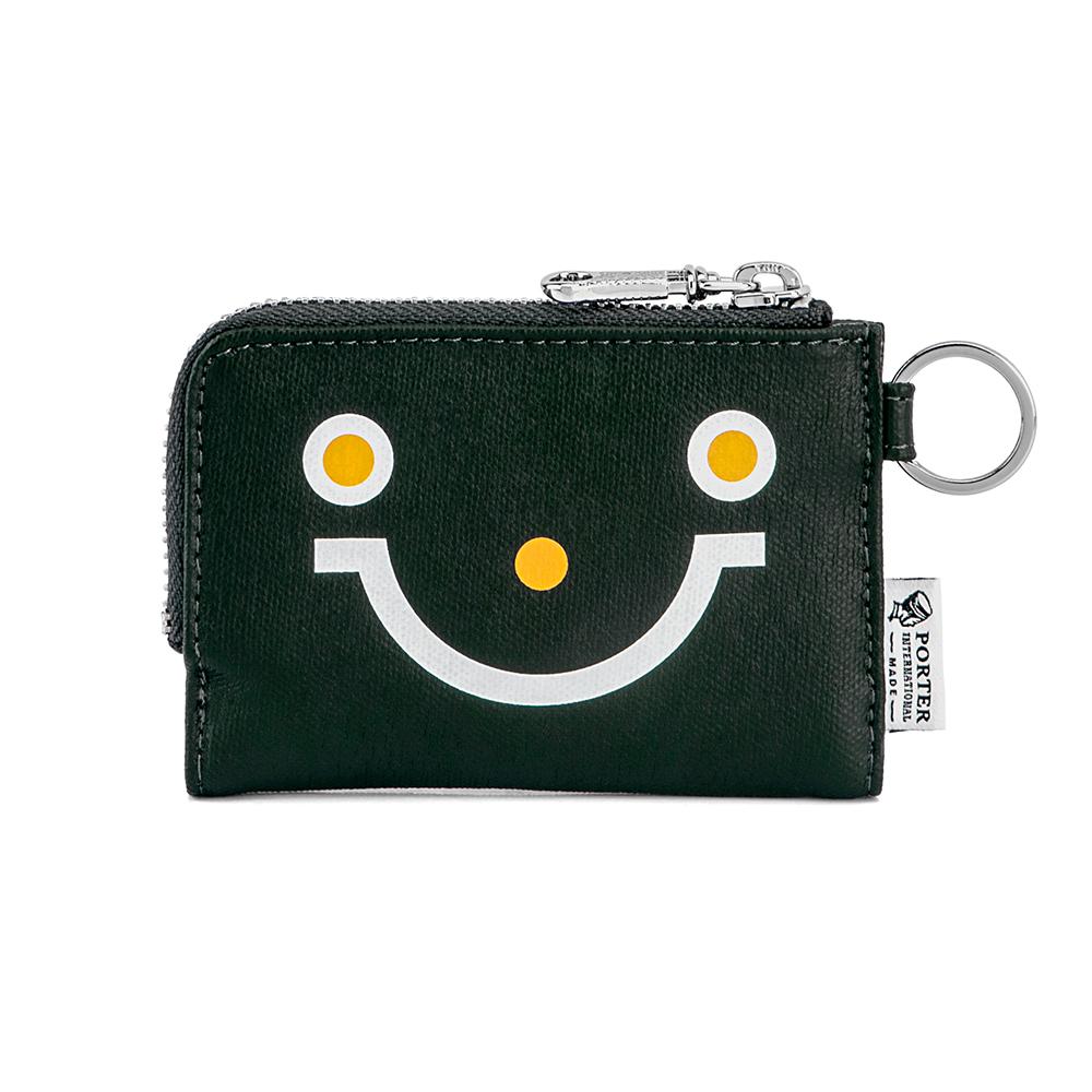 PORTER - 重拾童趣KEEP ON SMAILING復古L型卡片零錢包 - 綠