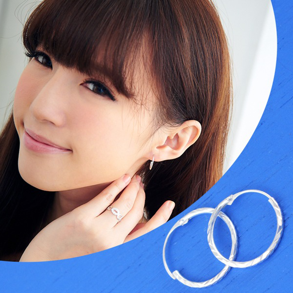 維克維娜 微春優雅。經典百搭款圈圈造型 925純銀耳環