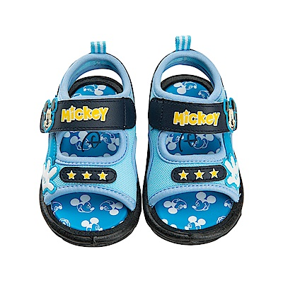 迪士尼 米奇 經典造型 魔鬼氈嗶嗶涼鞋-藍