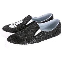 Chiara Ferragni Flirting 帽子眨眼亮片厚底鞋(黑色)