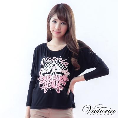 Victoria 飛鼠袖星星玫瑰印花T-女-黑色