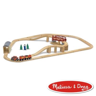 美國瑪莉莎 Melissa & Doug 交通工具 - 旋轉橋樑火車軌道組 , 47pcs