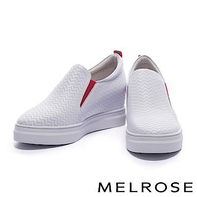休閒鞋 MELROSE 獨特撞色設計鋸齒壓紋牛皮厚底休閒鞋-白