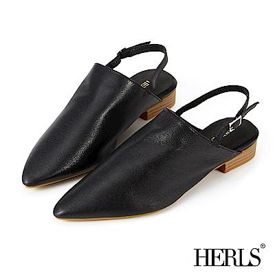 HERLS 全真皮 簡約生活尖頭繫帶涼鞋-黑色