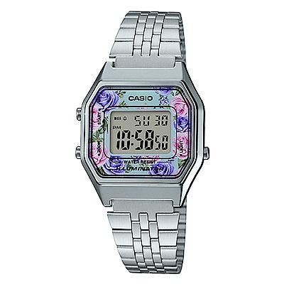 CASIO玫瑰花春樣氣息復古系列百搭時尚數位錶(LA-680WA-2C)水藍28.6mm