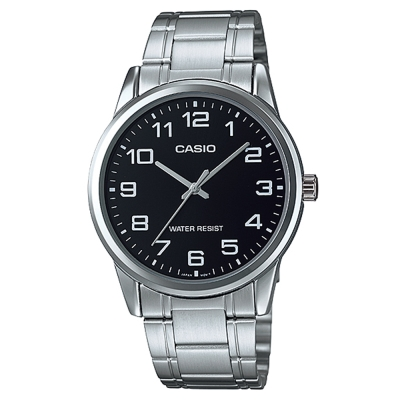 CASIO 經典復古時尚簡約指針紳士腕錶-黑色(MTP-V001D-1B)/40mm