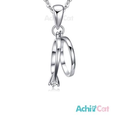 AchiCat 925純銀項鍊 鎖骨鍊 純粹晶鑽 小戒指