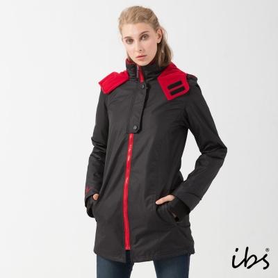 ibs時尚機能防風外套(黑/紅-女)