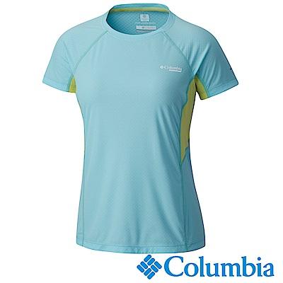 Columbia 哥倫比亞 女款-涼感快排野跑短袖上衣-藍色 UAR19620BL